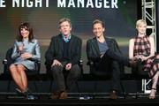 (L-R) Executive Produce/Director Susanne Bier and actors Hugh Laurie, Tom Hiddleston and Elizabeth Debicki speak onstage during The Night Manager panel as part of the AMC Networks portion of This is Cable 2016 Television Critics Association Winter Tour at Langham Hotel on January 8, 2016 in Pasadena, California.
