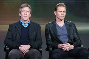 (L-R) Actors Hugh Laurie and Tom Hiddleston speak onstage during The Night Manager panel as part of the AMC Networks portion of This is Cable 2016 Television Critics Association Winter Tour at Langham Hotel on January 8, 2016 in Pasadena, California.