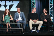 Actors Clara Paget, Toby Stephens, Ray Stevenson and Zach McGowan speak onstage during the Black Sails panel as part of the Starz portion of This is Cable 2016 Television Critics Association Winter Tour at Langham Hotel on January 8, 2016 in Pasadena, California.