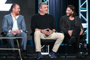 Actors Toby Stephens, Ray Stevenson and Zach McGowan speak onstage during the Black Sails panel as part of the Starz portion of This is Cable 2016 Television Critics Association Winter Tour at Langham Hotel on January 8, 2016 in Pasadena, California.