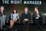 (L-R) Executive Producer Stephen Garrett, executive producer/director Susanne Bier and actors Hugh Laurie and Tom Hiddleston speak onstage during The Night Manager panel as part of the AMC Networks portion of This is Cable 2016 Television Critics Association Winter Tour at Langham Hotel on January 8, 2016 in Pasadena, California.