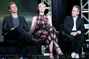 Actors Tom Hiddleston, Elizabeth Debicki and Tom Hollander speak onstage during The Night Manager panel as part of the AMC Networks portion of This is Cable 2016 Television Critics Association Winter Tour at Langham Hotel on January 8, 2016 in Pasadena, California.