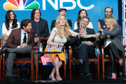 (L-R back) Actress Shelley Conn, executive producer Brad Silberling, actors Jamie Kennedy, Maya Erskine and Joshua Leonard (L-R front) Actors Don Hany, Melissa George, Dave Annable and Co-Executive Producer, Dr. Kathy Magliato speak onstage during the 'Heartbeat' panel discussion at the NBCUniversal portion of the 2015 Winter TCA Tour at Langham Hotel on January 13, 2016 in Pasadena, California.