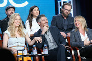 (L-R back) Actors Jamie Kennedy, Maya Erskine and Joshua Leonard (L-R front) Actors Melissa George, Dave Annable and Co-Executive Producer, Dr. Kathy Magliato speak onstage during the 'Heartbeat' panel discussion at the NBCUniversal portion of the 2015 Winter TCA Tour at Langham Hotel on January 13, 2016 in Pasadena, California.