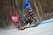 Tessa Worley of France skis her first run in the ladies' giant slalom during the 2017 Audi FIS Ski World Cup Finals at Aspen Mountain on March 19, 2017 in Aspen, Colorado. Brignone won the race.