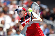 Jelena Jankovic of Serbia plays a backhand in her third round match against Svetlana Kuznetsova of Russia on day five of the 2017 Australian Open at Melbourne Park on January 20, 2017 in Melbourne, Australia.