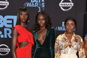 (L-R)  Duckie Thot, Nikki Perkins and Sandra Lambeck at the 2017 BET Awards at Microsoft Square on June 25, 2017 in Los Angeles, California.