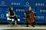 Anchor Stephanie Ruhle, MSNBC, and Cellist Yo-Yo Ma, Curator of the MIT Solve Arts and Culture Mentorship Prize, speak at The 2017 Concordia Annual Summit at Grand Hyatt New York on September 18, 2017 in New York City.