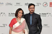 Actor Irrfan Khan (R) attends the Opening Night Gala of the 14th annual Dubai International Film Festival held at the Madinat Jumeriah Complex on December 6, 2017 in Dubai, United Arab Emirates.