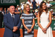 Bernard Giudicelli, President of the FFt presents Ana Ivanovic with a trophy as a ceremony in her honour is held on Court Philippe Chatrier on day twelve of the 2017 French Open at Roland Garros on June 8, 2017 in Paris, France.