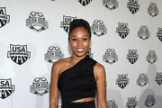 Allyson Felix attends the 2017 USA Swimming Golden Goggle Awards at J.W. Marriott at L.A. Live on November 19, 2017, in Los Angeles, California.