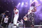 (L-R) Musicians Jacob Tilley, Sameer Gadhia, Francois Comtois, Eric Cannata and Payam Doostzadeh of the band Young the Giant perform at the Hangout Stage during 2017 Hangout Music Festival on May 21, 2017 in Gulf Shores, Alabama.