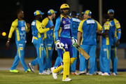 In this handout image provided by CPL T20, Shoaib Malik of the Barbados Tridents is dismissed for 0 during Match 8 of the 2017 Hero Caribbean Premier League between St Lucia Stars v Barbados Tridents at the Darren Sammy  Stadium on August 10, 2017 in Gros Islet, Saint Lucia.