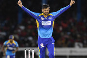 In this handout image provided by CPL T20, Shoaib Malik of Barbados Tridents celebrates the dismissal of Colin Munro of Trinbago Knight Riders during Match 11 of the 2017 Hero Caribbean Premier League between Barbados Tridents and Trinbago Knight Riders at Queen's Park Oval on August 12, 2017 in Port of Spain, Trinidad.