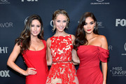 (L-R) Miss USA 2014 Nia Sanchez, Miss USA 2015, Olivia Jordan, and Miss Universe 2015 and pageant judge Pia Alonzo Wurtzbach attend the 2017 Miss Universe Pageant at Planet Hollywood Resort & Casino on November 26, 2017 in Las Vegas, Nevada.