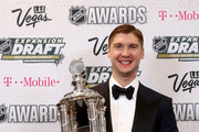 """Sergei Bobrovsky of the Columbus Blue Jackets poses after winning the Vezina Trophy awarded to the """"goalkeeper adjudged to be the best at his position"""" during the 2017 NHL Awards and Expansion Draft at T-Mobile Arena on June 21, 2017 in Las Vegas, Nevada."""