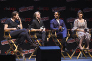 Bill Skarsgard, Sissy Spacek, Andre Holland and Melanie Lynskey speak onstage at the Castle Rock Panel during the New York Comic Con 2017 on October 8, 2017 in New York City.