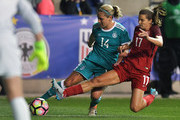 Jessica McDonald #14 of United States of America tries to block a shot by Anne Blsse #14 of Germany during the SheBelieves Cup at Talen Energy Stadium on March 1, 2017 in Chester, Pennsylvania.