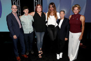 (L-R) Director of Transgender Media & Representation, GLAAD, Nick Adams, producer on 'Transparent,' Rhys Ernst, creator of Amazon's 'Danger & Eggs,' Shadi Petosky, actor Laverne Cox of 'Orange Is the New Black' and 'Doubt,' creator of 'Transparent' and 'I Love Dick,' Jill Soloway, and actor Alexandra Billings of 'Transparent' and 'How to Get Away with Murder' pose backstage during the 'Transgender Trends on TV Today Panel' portion of the 2017 Summer Television Critics Association Press Tour at The Beverly Hilton Hotel on August 4, 2017 in Beverly Hills, California.