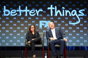 (L-R) Co-creator/Executive Producer/Writer/Director/Actor Pamela Adlon (L) and Co-creator/Executive Producer/Writer Louis C.K. of 'Better Things' speak onstage during the FX portion of the 2017 Summer Television Critics Association Press Tour at The Beverly Hilton Hotel on August 9, 2017 in Beverly Hills, California.