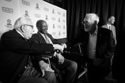 Image has been converted to black and white.) (L-R)  Producer Walter Mirisch, actor Sidney Poitier and director Norman Jewison attend the 50th anniversary screening of 'In the Heat of the Night' during the 2017 TCM Classic Film Festival on April 6, 2017 in Los Angeles, California.