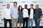 (L-R) Executive producer Shawn Ryan, actors Abigail Spencer, Malcolm Barrett, Goran Visnjic, Matt Lanter and executive producer Eric Kripke of 'Timeless' at 2017 WIRED Cafe at Comic Con, presented by AT&T Audience Network on July 20, 2017 in San Diego, California.