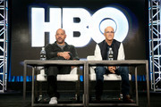 Executive producer/writer/director Allen Hughes (L) and record producer Jimmy Iovine of the documentary 'The Defiant Ones' speak onstage during the HBO portion of the 2017 Winter Television Critics Association Press Tour at the Langham Hotel on January 14, 2017 in Pasadena, California.