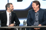 Executive producer/director Judd Apatow (L) and creator/executive producer/actor Pete Holmes of the series 'Crashing' speak onstage during the HBO portion of the 2017 Winter Television Critics Association Press Tour at the Langham Hotel on January 14, 2017 in Pasadena, California.