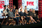 (Top L-R) Singers Brandy and Lance Bass, Diane Bass, and Executive producers Conrad Green and Kenny Rosen, (Bottom L-R) chefs Curtis Stone and Cat Cora, dancer Dean Sheremet, TV personality Brandi Glanville, comedian Andrew Dice Clay, and actress Valerie Vasquez of the television show 'My Kitchen Rules' speak onstage during the FOX portion of the 2017 Winter Television Critics Association Press Tour at Langham Hotel on January 11, 2017 in Pasadena, California.