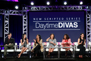 (L-R) Executive producer Mike Chessler, actresses Chloe Bridges, Tichina Arnold, Vanessa Williams, Star Jones and Camille Guaty of the series 'Daytime Divas' speak onstage during the VH1 portion of the 2017 Winter Television Critics Association Press Tour at the Langham Hotel on January 13, 2017 in Pasadena, California.