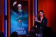 Lorena Ochoa speaks on stage as she is inducted into the 2017 World Golf Hall Of Fame on September 26, 2017 in New York City.