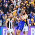 Josh Kennedy of the Eagles celebrates kicking a goal during the 2018 AFL Grand Final match between the Collingwood Magpies and the West Coast Eagles at Melbourne Cricket Ground on September 29, 2018 in Melbourne, Australia.