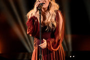 Retransmission with alternate crop.)  Carrie Underwood performs onstage during the 2018 American Music Awards at Microsoft Theater on October 9, 2018 in Los Angeles, California.