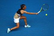 Francesca Schiavone of Italy plays a backhand in her first round match against Jelena Ostapenko of Latvia on day one of the 2018 Australian Open at Melbourne Park on January 15, 2018 in Melbourne, Australia.