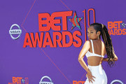Logan Browning attends the 2018 BET Awards at Microsoft Theater on June 24, 2018 in Los Angeles, California.