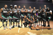 (Back L-R) Tank, Famous Los, Larry 'Bone Collector' Williams, Big Boy, Chris Staples, Lecrae, Christian Keyes, Jahi Winston, Doug Christie, Kamaiyah (front, L-R) Brittney Elena, Rapsody, and Miles Brown pose at the Celebrity Basketball Game Sponsored By Sprite during the 2018 BET Experience at Los Angeles Convention Center on June 23, 2018 in Los Angeles, California.