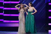 Aylin Mujica (L) and Candela Ferro onstage at the 2018 Billboard Latin Music Awards at the Mandalay Bay Events Center on April 26, 2018 in Las Vegas, Nevada.