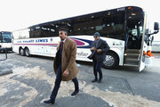 Evander Kane #9 (L) and Kyle Okposo #21 (R) of the Buffalo Sabres arrives for the 2018 Bridgestone NHL Winter Classic between the New York Rangers and the Buffalo Sabres at Citi Field on January 1, 2018 in the Flushing neighborhood of the Queens borough of New York City.