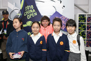 Carla Suarez Navarro of Spain takes a group shot at the Offical Merchandise Booth during the 2018 China Open at the China National Tennis Centre on September 30, 2018 in Beijing, China.