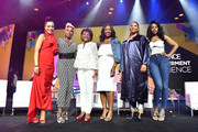 (L-R) Angela Rye, Mary J. Blige, Maxine Waters, Alencia Johnson, Queen Latifah and Remy Ma pose onstage during the 2018 Essence Festival presented by Coca-Cola at Ernest N. Morial Convention Center on July 6, 2018 in New Orleans, Louisiana.