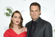 Critic Morgan Macgregor (L) and actor Michael C. Hall attend the 2018 Farm Sanctuary on the Hudson gala at Pier 60 on October 4, 2018 in New York City.