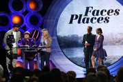 (L-R) Filmmakers JR, Agnes Varda and Rosalie Varda accept Best Documentary Feature for 'Faces Places' onstage during the 2018 Film Independent Spirit Awards on March 3, 2018 in Santa Monica, California.