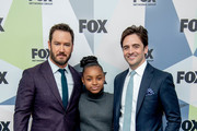 Mark-Paul Gosselaar, Saniyya Sidney, and Vincent Piazza attend the 2018 Fox Network Upfront at Wollman Rink, Central Park on May 14, 2018 in New York City.