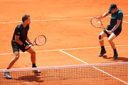 Jamie Murray of Great Britain partner of Bruno Soares of Brazil returns the ball during their mens doubles match against Maximo Gonzalez of Argentina and Nicolas Jarry of Chile during day seven of the 2018 French Open at Roland Garros on June 2, 2018 in Paris, France.