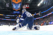 Brayden Schenn #10 of the St Louis Blues gets a shot past Andrei Vasilevskiy #88 of the Tampa Bay Lightning during the GEICO NHL Save Streak during the 2018 GEICO NHL All-Star Skills Competition at Amalie Arena on January 27, 2018 in Tampa, Florida.