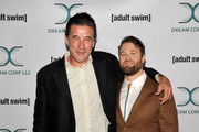 Retransmission with alternate crop.) William Baldwin (L) and Daniel Stessen attends Adult Swim's DREAM CORP LLC Season 2 Premiere at Ace Hotel on October 17, 2018 in Los Angeles, California.