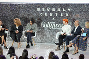(L-R) Erin Benach, Ruth E. Carter, Alexandra Byrne, Sandy Powell, Carlos Rosario and The Hollywood Reporter's Style and Fashion News Director, Booth Moore speak onstage at the Beverly Center's Grand Reveal Weekend: Candidly Costumes with The Hollywood Reporter at The Beverly Center on November 2, 2018 in Los Angeles, California.