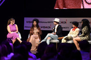 """(L-R) Ashley Graham, Indya Moore, Nico Tortorella, Alia Shawkat and Phoebe Robinson speak onstage during """"The Benefits of Being an Outlier"""" panel discussion at 2018 Glamour Women Of The Year Summit:  Women Rise at Spring Studios on November 11, 2018 in New York City."""