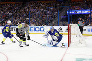 Josh Bailey #12 of the New York Islanders takes a shot on net against Andrei Vasilevskiy #88 of the Tampa Bay Lightning in the second half during the 2018 Honda NHL All-Star Game between the Atlantic Division and the Metropolitan Divison at Amalie Arena on January 28, 2018 in Tampa, Florida.