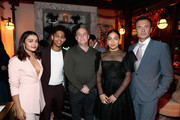 (L-R) Ariela Barer, Rhenzy Feliz, Jeph Loeb, Allegra Acosta, and Julian McMahon attend the 2018 Hulu Holiday Party at Cecconi's Restaurant on November 16, 2018 in Los Angeles, California.